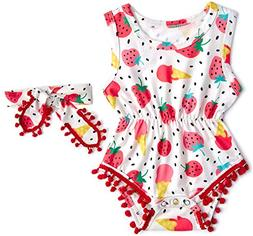 BFUSTYLE 0-3M Baby Girls Strawberry Graphics Romper Childlik
