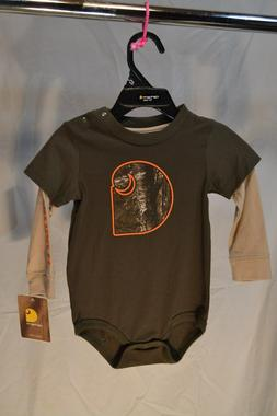 Carhartt 1pc Shirt Green w/ Tan CA8620 Size 9 & 18 mos Infan