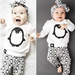 2Pcs Baby Kids Boys Girls T-Shirt Pullover Tops Pants Bottom