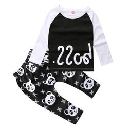 2Pcs Newborn Baby Girls Boy Bodysuit Tops Shirt + Trousers C