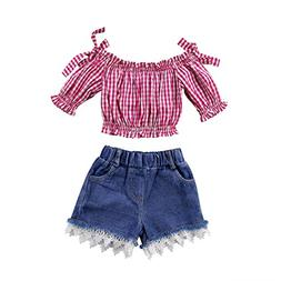 Aliven 2Pcs Set Summer Toddler Kids Girls Plaids Off Shoulde