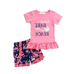 Aliven 2Pcs/Set Toddler Kids Baby Girl Summer Short Sleeve T