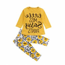 2Pcs Toddler Kids Baby Girl Summer Clothes T-shirt Tops+Flor
