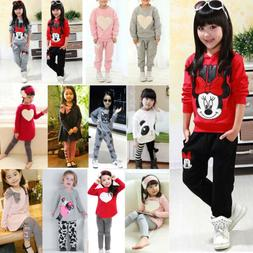 2PCS Toddler Kids Girls Outfits Clothes Long Sleeve T-shirt