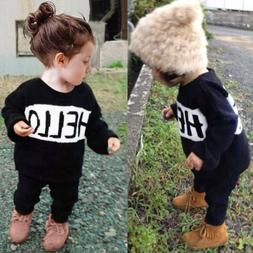 2pcs Toddler Newborn Kids Baby Boys Girls Clothes Outfits T-