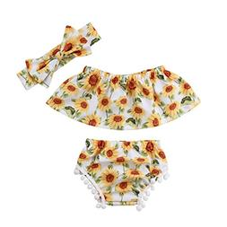 Aliven 3PCS Newborn Infant Baby Girls Outfit Clothes Romper