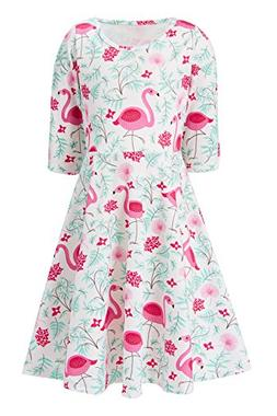 4t 5t Girl Dress Infant Flamingo Swing Dress Three Quarter S