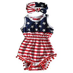 Avidqueen 4th Of July Toddler Baby Girls American Flag Patte