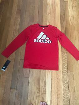 Adidas athletic shirt kids size 7 red long sleeve Brand New