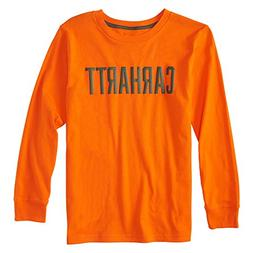 Carhartt Boys' Big Long Sleeve Tee Shirt, Block Orange, S-8/
