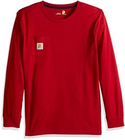 Carhartt Baby Big Boys' Long Sleeve Tee Shirt, Red, XL-18/20