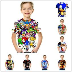 Boys Cartoon Mario Super Sonic Print Clothes 3D T-shirts Cos