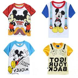 Boys Kids Girls Summer Short Sleeve Mickey Mouse Printed Tee