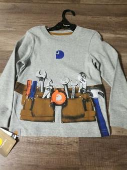Boys Carhartt Longsleeve T-Shirt Gray Toolbelt Design New