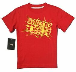 NIKE BOYS TEE SHIRT - EXCESSIVE FORCE SZ 7 - RED - TOP GRAPH