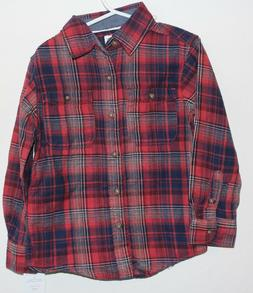 BOYS YOUTH KIDS CARTER'S 2 Pocket Plaid Button Front Flannel