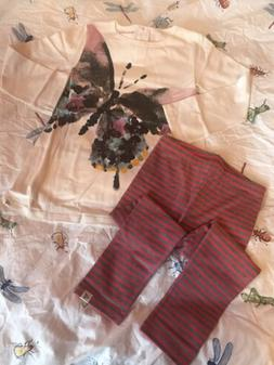 Burt's Bees Baby New NWT 5 5Y Butterfly Tunic Top Shirt Stri