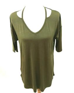 Cable & Gauge Top Sz M Army Green Short Sleeve Strappy Detai