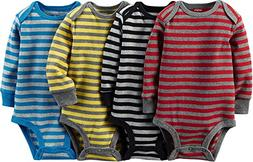 "Carter's Baby Boys' ""All Stripe"" 4-Pack L/S Bodysuits - red/"