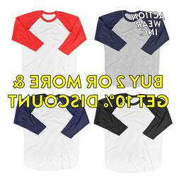 KID BOY GIRL PLAIN RAGLAN T SHIRT 3/4 SLEEVE BASEBALL TEE TE