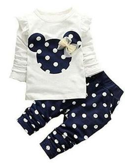 Cute Toddler Baby Girls Clothes Set Long Sleeve T-Shirt, 1-w