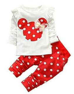 Cute Toddler Baby Girls Clothes Set Long Sleeve T-Shirt and,