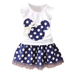 Avidqueen Cute Toddler Baby Girls Clothes Sets Polka Dot T-S