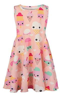 Girl Sundresses Kid Polyester Applique ice Lolly Dress Cloth
