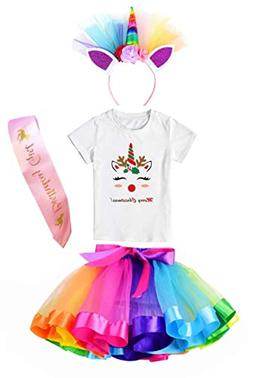 Girls Layered Tutu Skirt with Unicorn Tshirt, Headband & Sat