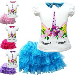 Kid Baby Girls Unicorn Pattern T-Shirt + Mesh Tutu Dress Ski