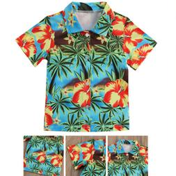 kids baby boys hawaiian cotton camp shirt