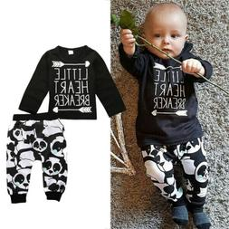 Canis Kids Baby Boys Panda Print Outfits Tops T-shirt Pants