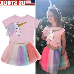 Kids Baby Girl Cartoon Unicorn Top T-shirt Lace Tutu Skirt O
