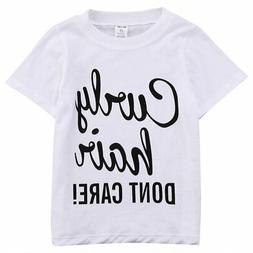 BiggerStore Kids Baby Girl Curly Hair Don't Care Printed Sum