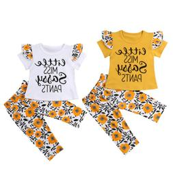 Canis Kids Baby Girl Outfits Tops T-shirt+Floral Pants Sassy