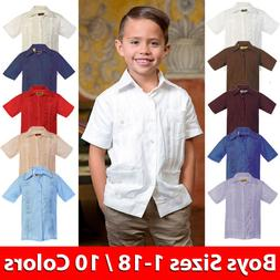 Kids Boys Guayabera Short Sleeve Cuban Shirt Wedding Beach C