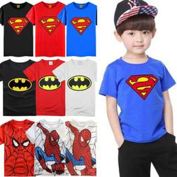 kids boys superman spiderman batman t shirt