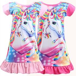 Kids Girl Unicorn Tunic Sleepwear Pajamas Nightwear T-shirt