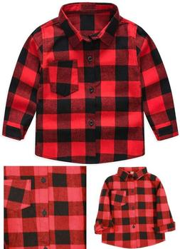 Kids Little Boys Girls Baby Long Sleeve Button Down Red Plai