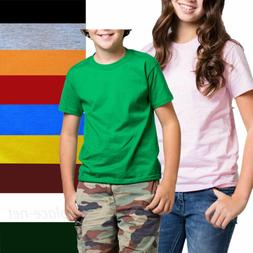 Kids T-Shirt Boy Girl Short sleeve Tee Solid Color Cotton Pl