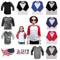 Kids T-Shirt Raglan Baseball Jersey Casual Plain Toddler Boy