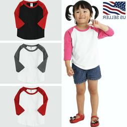 Kids T Shirts Raglan Baseball Jersey Casual Plain Toddler Bo