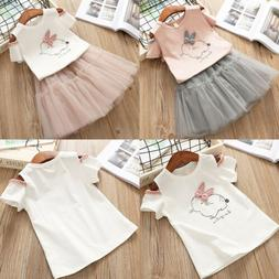 Kids Toddler Baby Girl Cotton Bunny T-shirt Tops+Fairy Tutu