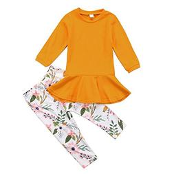 Kids Toddler Baby Girl Long Sleeve T-shirt Top Dress+Floral
