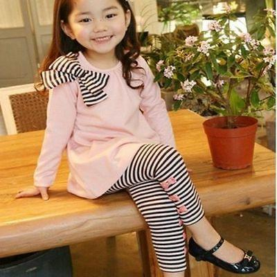 2pcs Girls Kids Bow Tops Shirt Dress Striped Pants Tracksuit Set Outfits Clothes