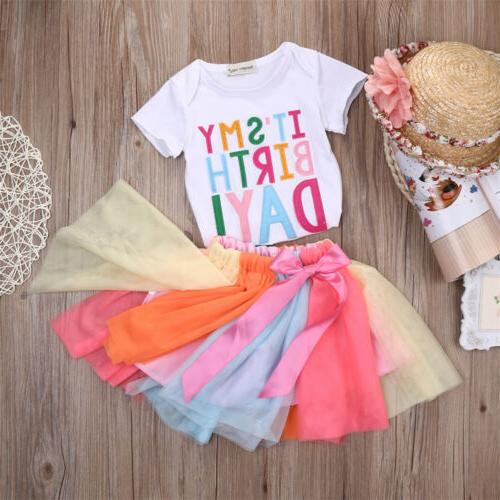 2Pcs Clothing + Skirt Set Summer Tutu Outfits 1-6Y