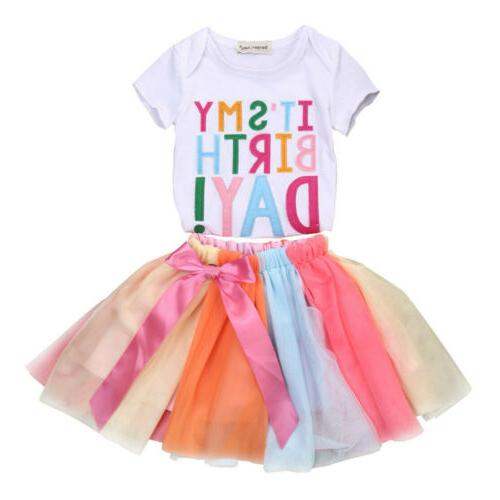 2Pcs Kids Clothing T-Shirt + Set Dress Outfits 1-6Y