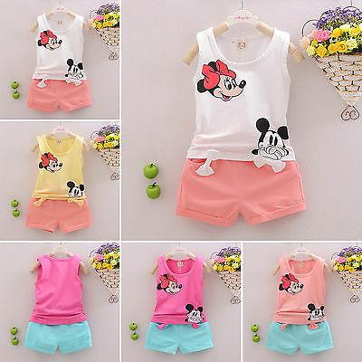 2Pcs Kids Baby Girls Mickey Mouse Outfits T-shirt Tops+Short