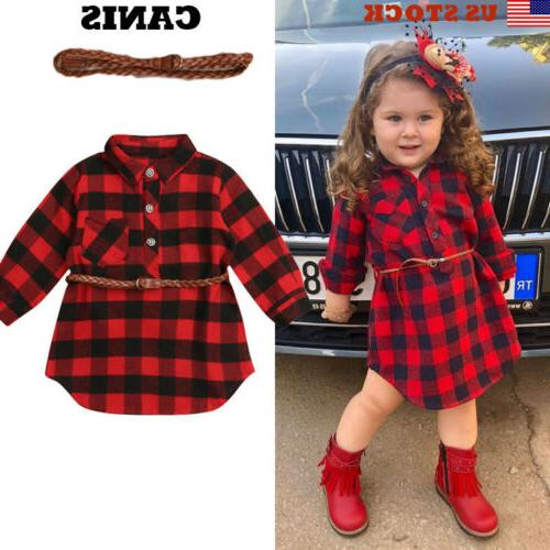 2pcs plaid toddler kids baby girl outfit