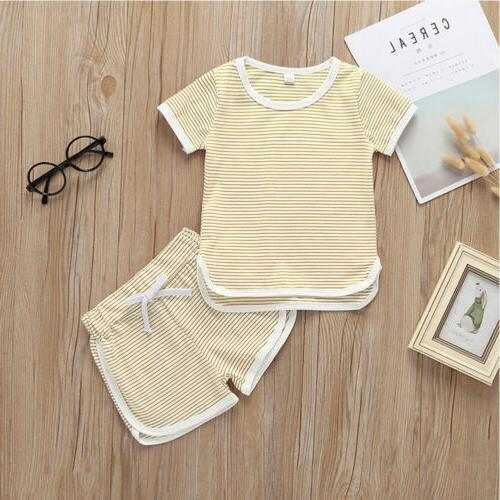 2Pcs Boy T-Shirt Tops+Shorts Pants Outfits US